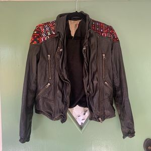 Embroidered Leather Jacket || Free People